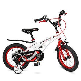Велосипед детский PROF1 14д. LMG14202 (1шт) Infinity,магнез.рама,бело-красн,звонок,доп.кол