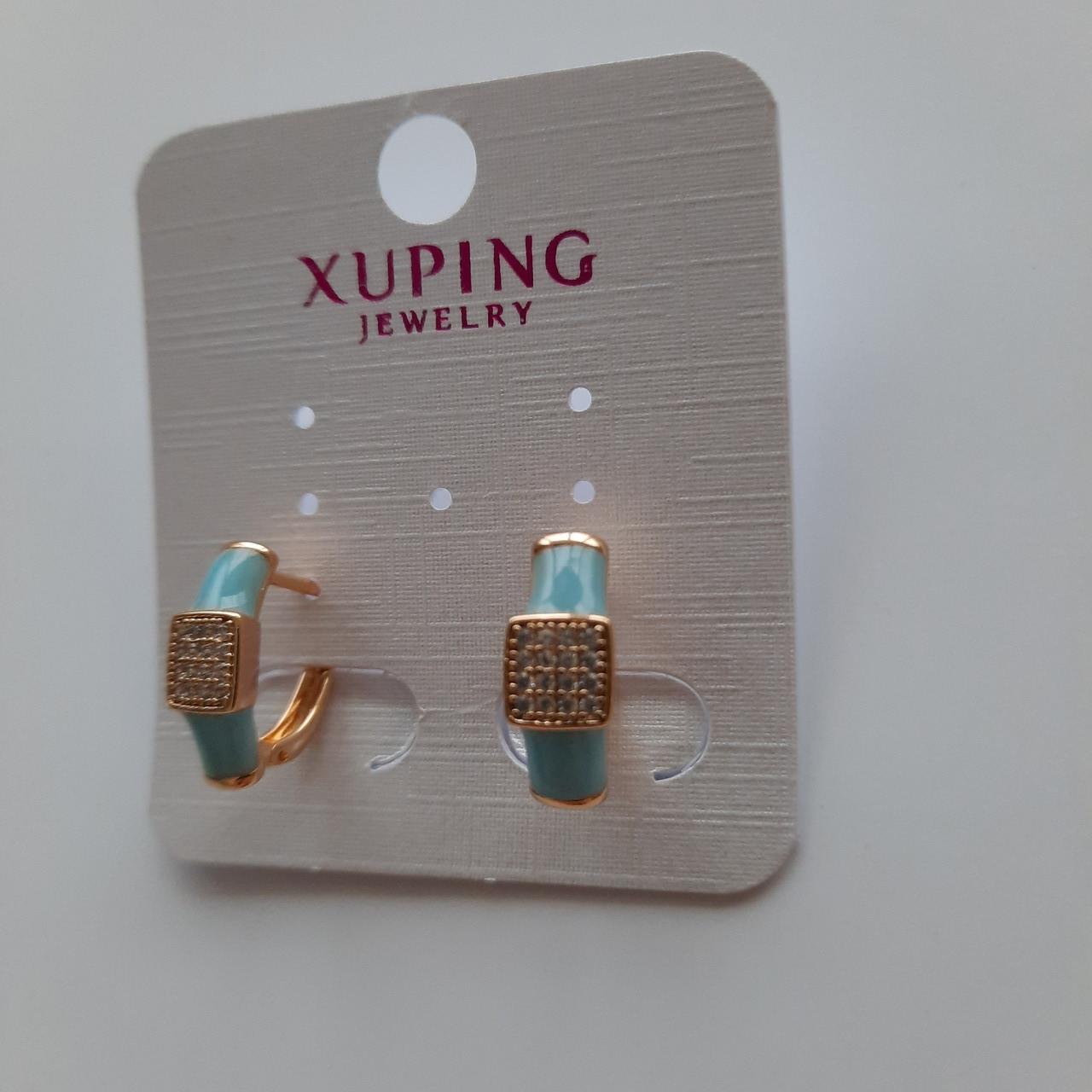 Сережки голубая эмаль с цирконом бижутерия Xuping
