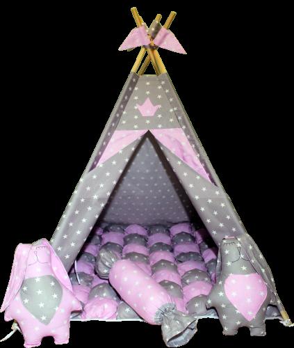 Вігвам Хатка комплект Бонбон Принцеса Рожевий з сірим з подушками