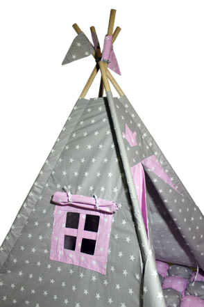Вігвам Хатка комплект Бонбон Принцеса Рожевий з сірим з подушками, фото 2