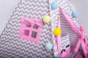 Вигвам Хатка комплект Бонбон Мечта Розовый с серым, фото 2