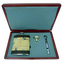 Подарочный набор с флягой GW-6 (фляга YG06-10A26, лейка LY-DJ1 gold, фонарик)