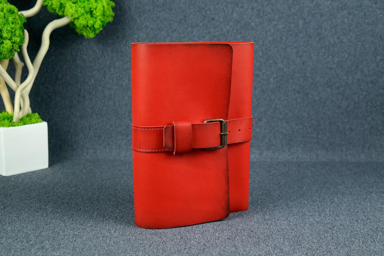 """Обложка для блокнота А5 """"Модель № 3"""", Кожа Итальянский краст, цвет Красный"""