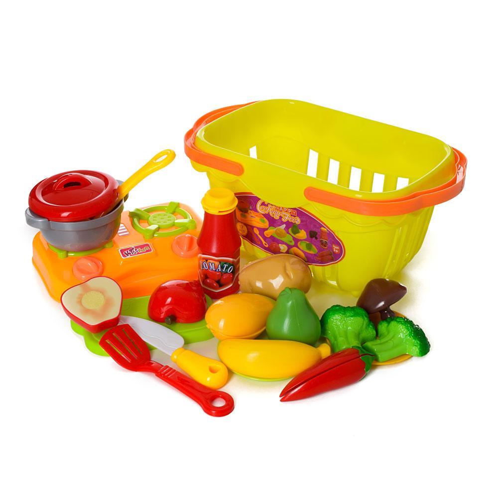 Продукты, овощи/фрукты на липучке, посуда, плита, 17 предметов, в корзине, 1257