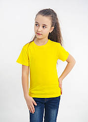 Дитяча однотонна футболка вільного крою (жовта)