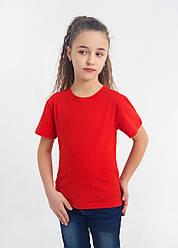 Дитяча однотонна футболка вільного крою (червона)