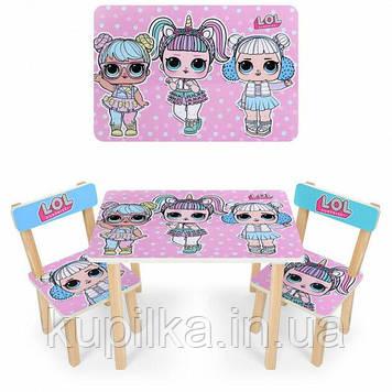 """Комплект деревянной, яркой, мультяшной мебели для малыша столик с двумя стульчиками """"LOL"""""""