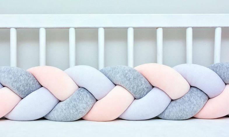 Бортик в кроватку Хатка Косичка Белый-Персиковый-Серый 120 см (одна сторона кроватки), фото 2