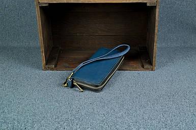 Кошелек клатч на круговой молнии с ремешком Кожа Итальянский краст цвет синий