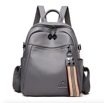 Рюкзак женский кожаный трансформер сумка Hilary Hefan Daishu Серый