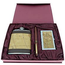 Подарочный набор с флягой ND-4 (фляга, визитница, ручка)