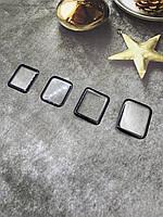 Защитное стекло 5D Side Glue на часы Apple Watch Series 6/ Nike Series 6 черная рамка, клей по окантовке 44mm