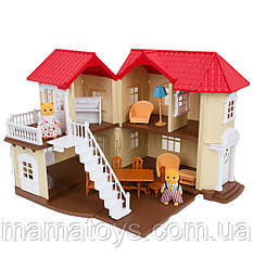 Кукольный Домик Счастливая Семья 012-01 Подсветка, Мебель, 2 фигурки Флоксовые животные Happy Family