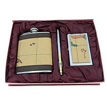 Подарочный набор с флягой ND-7 (фляга, визитница, ручка)