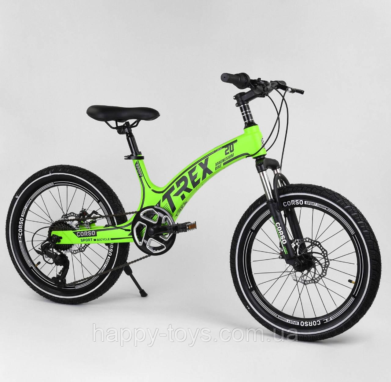 """Детский спортивный велосипед 20"""" Салатовый CORSO «T-REX» магниевая рама, 7 скоростей, собран на 75% 18765"""