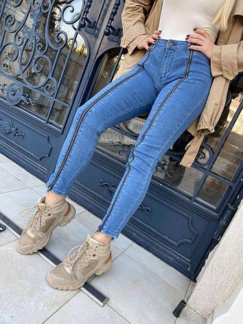 Джинсы женские стрейчевые  с молнией на штанинах BENEDETTO, фото 2