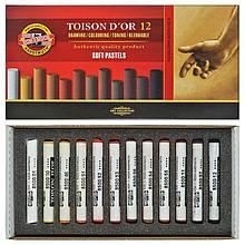 Пастель суха TOISON d'or, 12 шт., коричн. відтінки