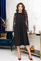 Ошатне плаття міді чорного кольору з гіпюровими рукавами розміри 44, 46