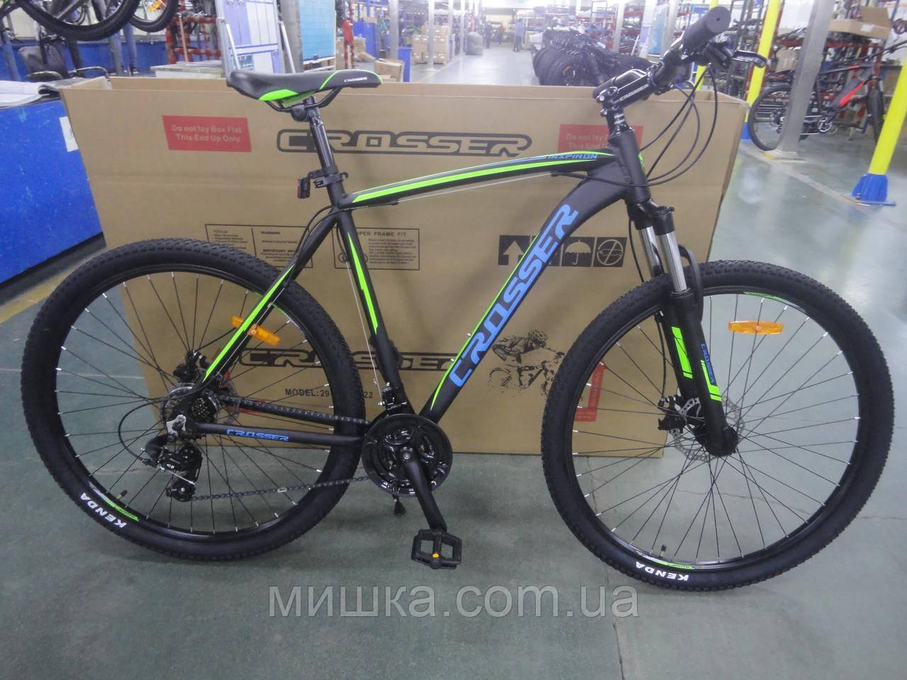 """Велосипед Crosser Inspiron 29"""" рама 21"""" чорно-синій, гірський алюмінієвий"""