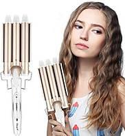 Плойка для волос волна тройная ROZIA с керамическим покрытием плойка-волна для локонов, завивки волос