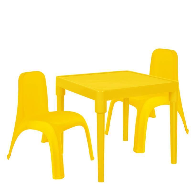 Дитячий стіл для творчості + 2 стільця Жовтий (18-100-22)