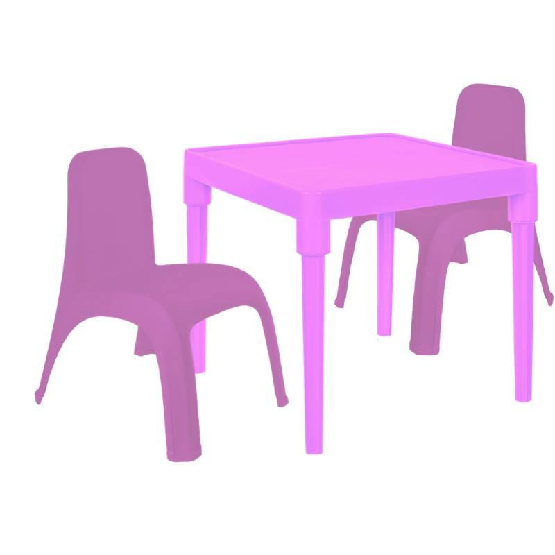 Детский стол для творчества + 2 стула Розовый (18-100-25)
