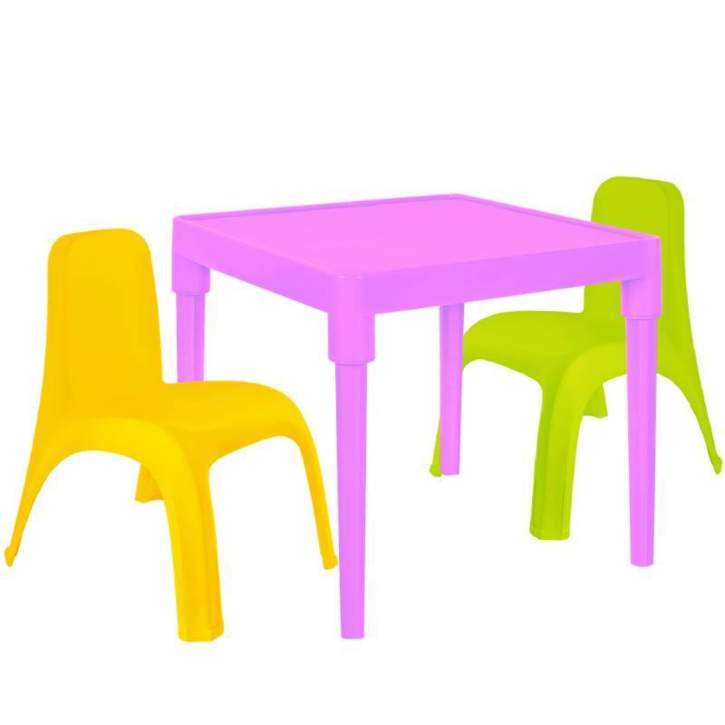 Детский стол для творчества + 2 стула Разноцветные (18-100-29)