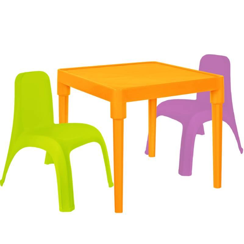 Детский стол для творчества + 2 стула Разноцветные (18-100-30)