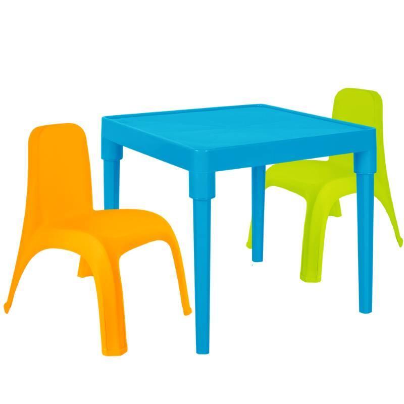 Детский стол для творчества + 2 стула Разноцветные (18-100-31)