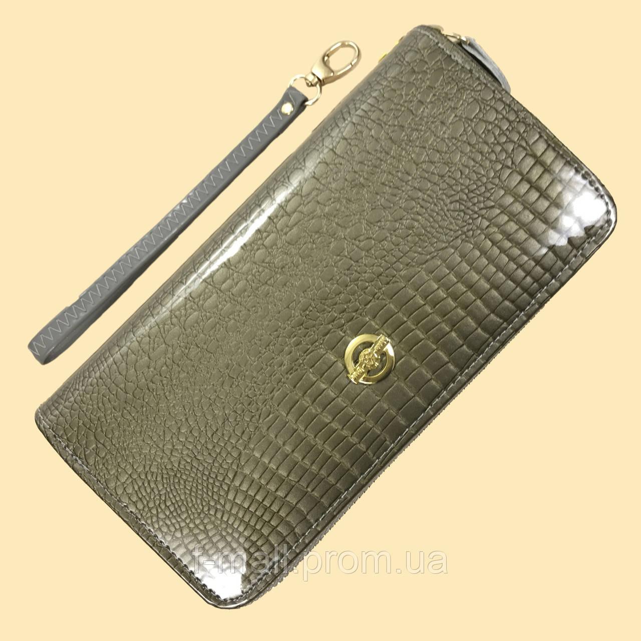 Лаковий гаманець жіночий зі штучної шкіри на дві блискавки Shen Duo (88-1)