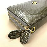 Лаковий гаманець жіночий зі штучної шкіри на дві блискавки Shen Duo (88-1), фото 2