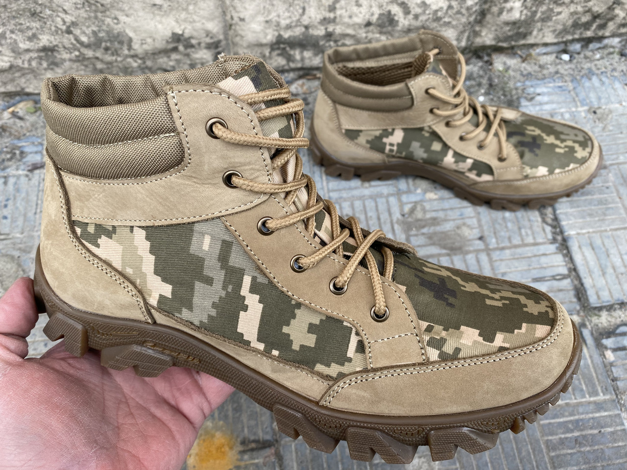 Ботинки тактические, берцы летние из натуральной кожи и ткани пиксель ДК ботинок писель