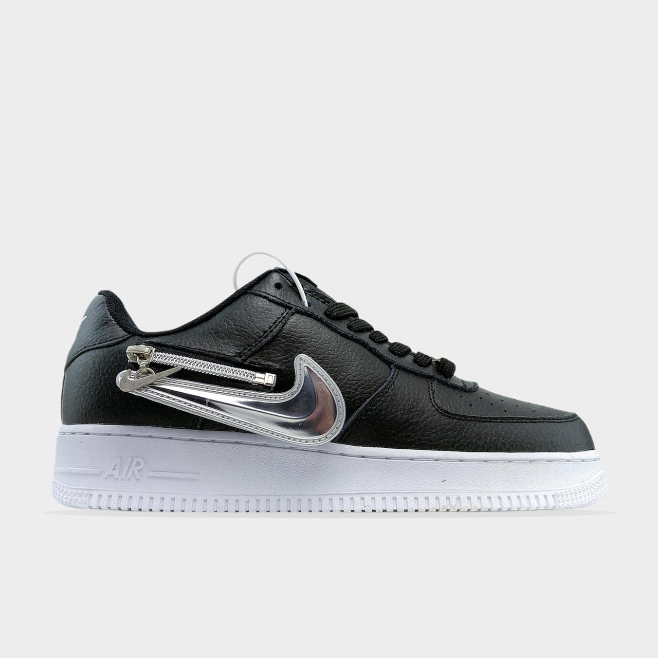 Nk, крос, обувь, взуття, sneakers, шузы, Air Force 1 Low Zip Swoosh black (Черный)