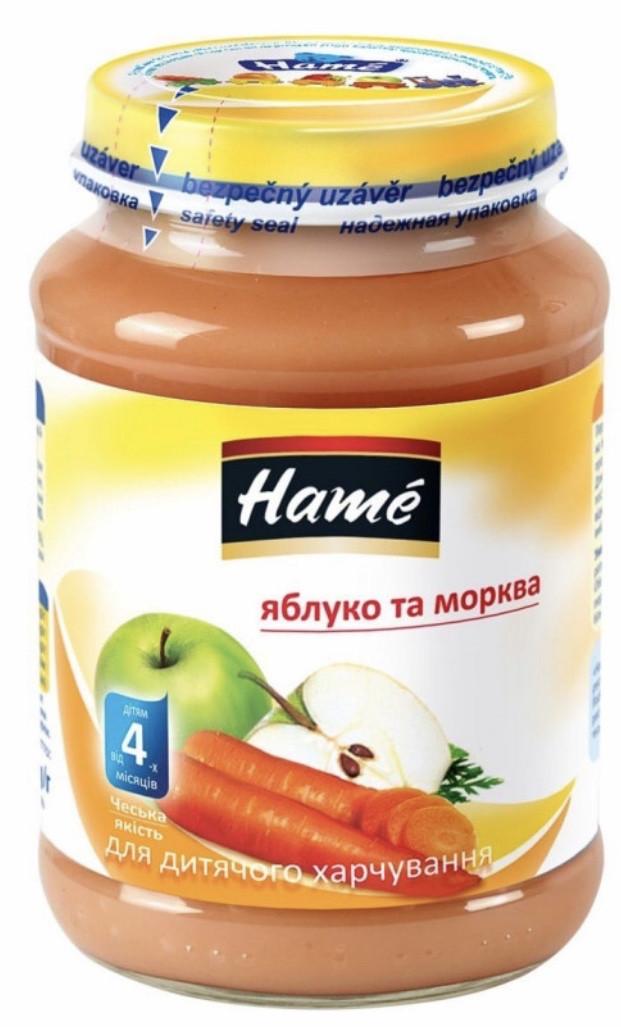 Пюре фруктово-овощное пюре яблочное с морковью Hame, 190 г с 4 мес