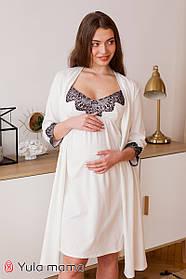 Классный комплект из ночнушки и халата с кружевом для беременных и кормящих мам, размер  S, M, L, XL