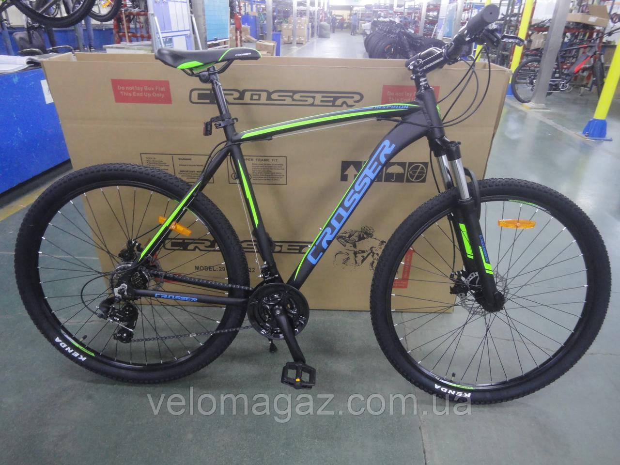 """Велосипед алюминиевый Crosser Inspiron 29"""" рама 22"""" черно-зелёный, горный"""