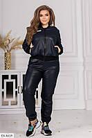 Кожаные женские стильные штаны на велюре надпись на ноге большие размеры 48-54 арт 146, фото 1