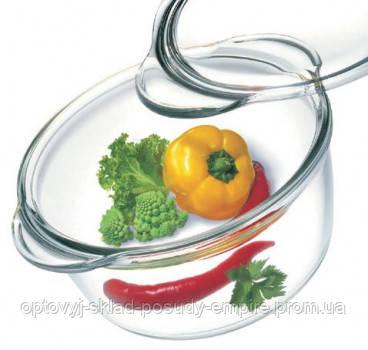 Жаропрочная стеклянная круглая кастрюля с крышкой 1,5 л Simax 6666-6676