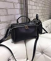 Небольшая женская черная сумочка через плечо сумка бочонок кроссбоди экокожа