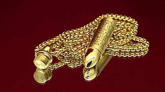 Кулон из медицинской стали Открывающийся патрон с молитвой позолота 18К, фото 3
