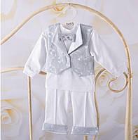 """Хрестильний костюм для хлопчика """"Маленький Янгол"""" білий, молочний - Розмір 56,62,68,74,80, фото 1"""