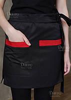 Фартух чорний короткий для офіціантів. Уніформа для офіціантів