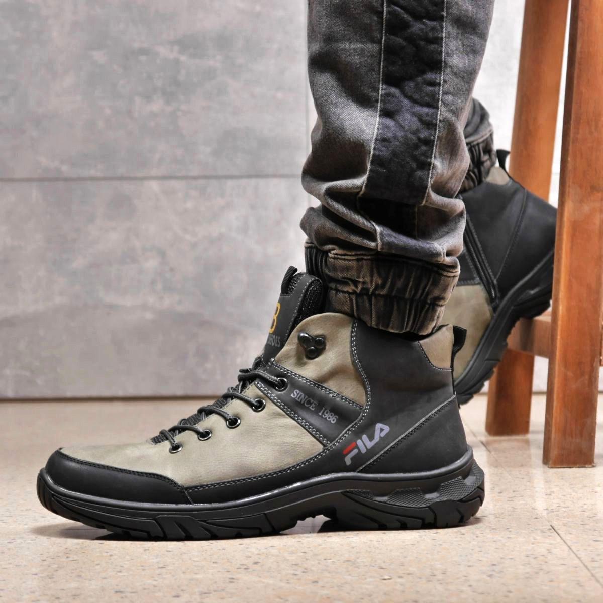 Зимние мужские ботинки 31861, Camel (на меху, в коробке), темно-серые, [ 41 44 ] р. 41-27,5см.