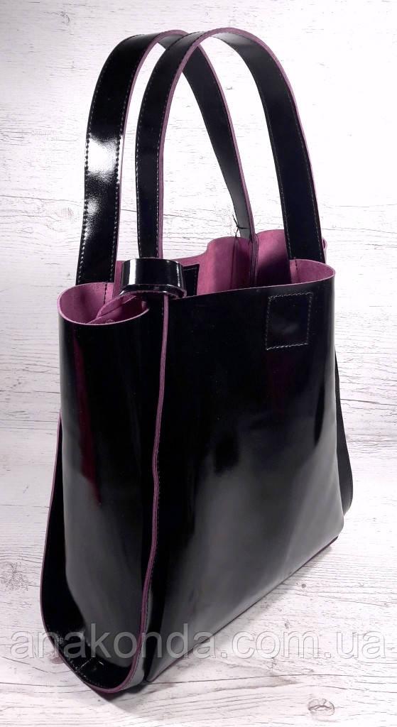 151-1 Натуральная кожа, Сумка женская черная Сумка шоппер черная  Черный глянец с вывороткой фуксия