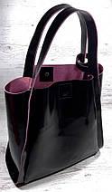 151-1 Натуральная кожа, Сумка женская черная Сумка шоппер черная  Черный глянец с вывороткой фуксия, фото 2