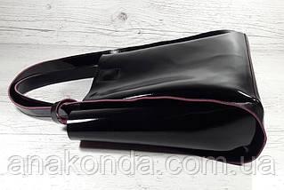 151-1 Натуральная кожа, Сумка женская черная Сумка шоппер черная  Черный глянец с вывороткой фуксия, фото 3