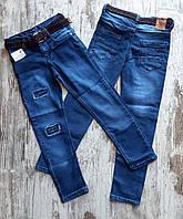 Джинсы подростковые под ремень прямые для мальчика 9-12 лет,синего цвета