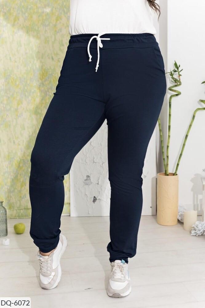 Весенние женские спортивные штаны из двунитки больших размеров 50-64 арт 1175