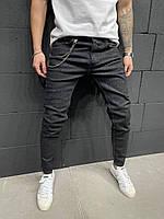 Джинсы мужские тертые черные, фото 1