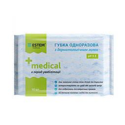 Губка ЕСТЕМ одноразова пінна з дерматологічним гелем Medical № 10